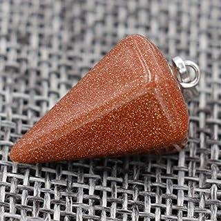 Natural Column Necklaces Natural Stone Pendants Pink Stone Pendant Tapered Section Pendulum Hexagonal Crystal Pendant Neck...