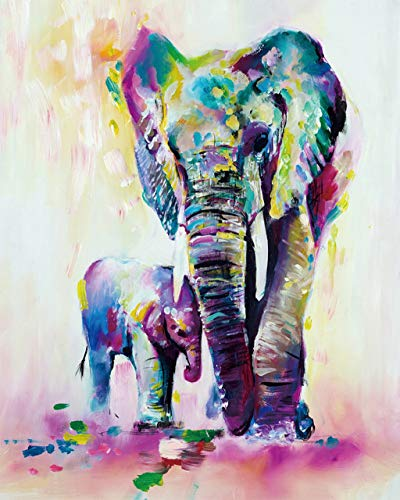 """SHUAXIN Paint by Numbers for Adults - DIY Full Set of Assorted Color Oil Painting Kit and Brush Accessories - Colorful Elephants Father-Son 16""""x20"""""""