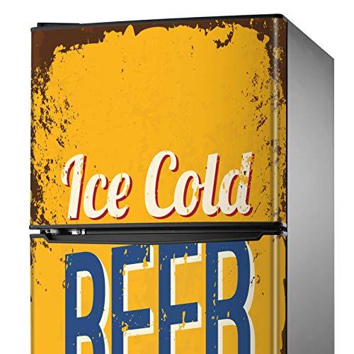 MEGADECOR Adhesivo Decorativo para Nevera con Diseño de Expendedora de Cerveza 'Ice Cold Beer', Varias Medidas (200cm x 60cm)