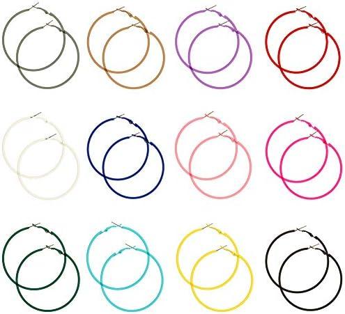 Uspeedy 12 Pairs 80s Hoop Earring Retro Earrings Dangle Earrings Colorful Neon Earrings product image