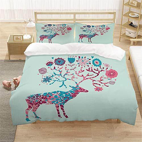 ARTGHJL Juego de ropa de cama, funda nórdica de poliéster, ropa de cama de tres piezas, con cremallera oculta, con funda de almohada (200 x 200 cm), diseño de flores