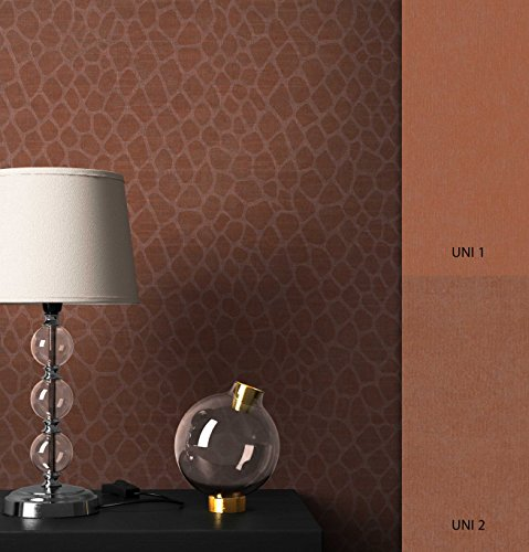 NEWROOM Tapete Rot Giraffe Fell Optik Stoff Optik Vliestapete Gold Vlies moderne Design Optik Mustertapete inkl. Tapezier Ratgeber