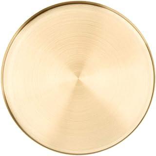 mecoco トレイ 収納トレイ ステンレストレイ アクセサリー置き 受け皿 丸盆 灰受け 小物置き ゴールド 鍵置き お会計皿 玄関 小物置き 釣銭皿 (M,ゴールド)