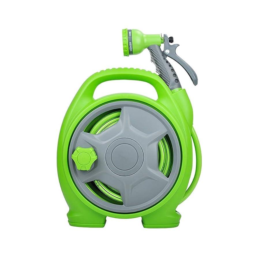破裂グリースフォーム多機能ガーデン水鉄砲セット ミニ水パイプストレージは、高速ポータブルウォーターガンセットガーデン水洗車の回復ラック 軽量 (色 : 緑, Size : 28x13.5x32cm)