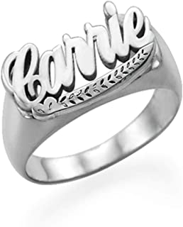 Personalized Unisex Name Ring - Custom Jewelry for Mom Women- Band Nameplate Rings