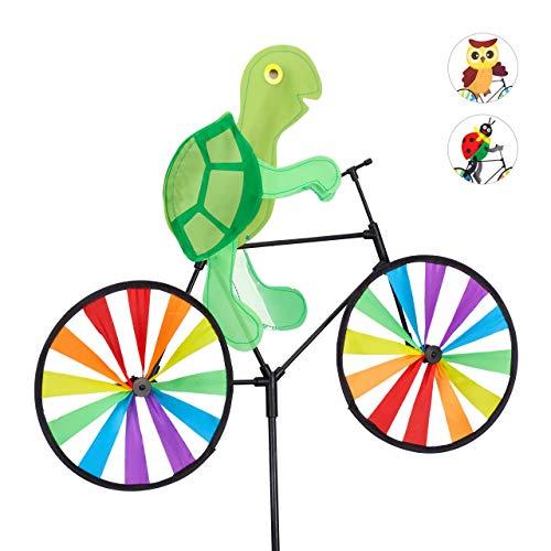 Relaxdays Windrad Schildkröte, Gartenstecker in tierischem Design, Kinder, Balkon oder Terrasse, 82 cm hoch, Mehrfarbig