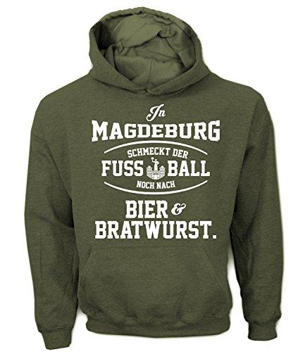 Artdiktat Herren Hoodie - In Magdeburg schmeckt der Fußball noch nach Bier und Bratwurst Größe XXL, Khaki