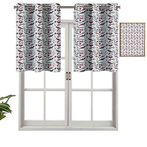 Hiiiman Cortinas opacas con diseño de ojales con elementos ornamentales estilo bohemio, gitano, atrapasueños plumas, juego de 2, 137 x 60 cm para sala de estar, dormitorio, decoración del hogar