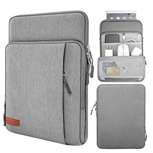 MoKo 9-11 Inch Tablet Sleeve Bag Carrying Case with Storage Pockets Fits iPad Pro 11, iPad 8th 7th Generation 10.2, iPad Air 4 10.9, Air 3 10.5, iPad 9.7, Galaxy Tab A 10.1, S6 Lite, S7 - Light Gray