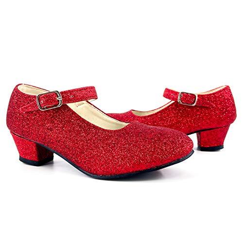 Zapatos Princesa Niñas Tacón Purpurina Rojo【Tallas Infantiles 22 a 35 】[Talla 30] Disfraz Carnaval Regalos Niña Cumpleaños Navidad