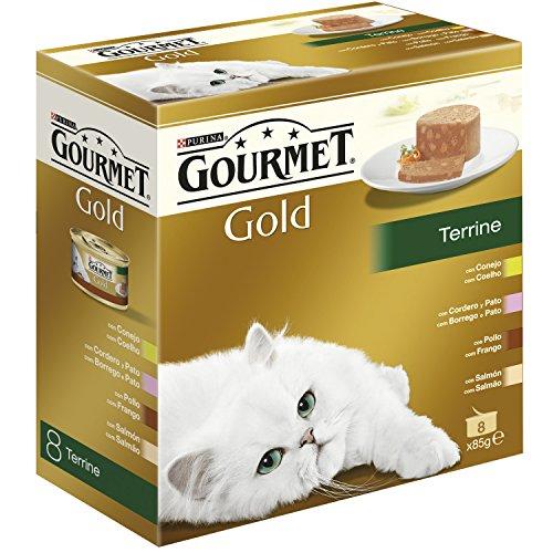 Purina Gourmet Gold - Terrine, 1 Paquete Surtido de 8 x 85 gr - Total: 680 gr ✅