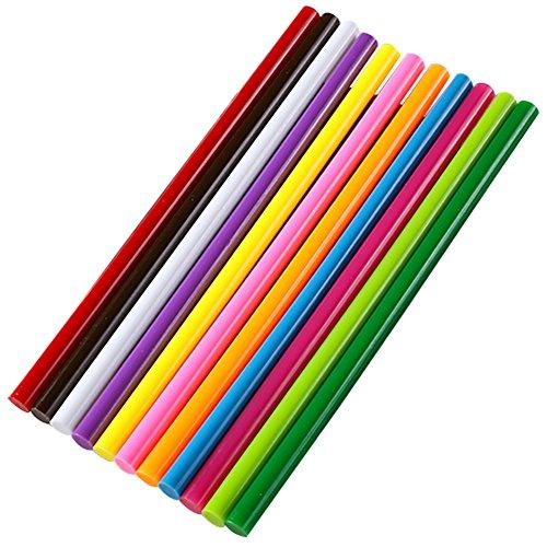 Ewparts 11 Pack Stick pegamento de colores pegajosos, 11 mm * 250 mm (No-Glitter-11pcs)
