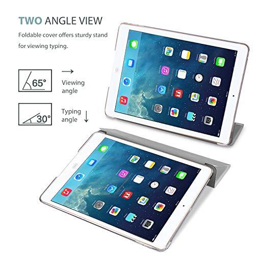 ProCase iPad Air Ultra Dünn Smart Hülle, Leichte Stand Schutzhülle Shell mit Translucent Frosted Rückhülle für Apple iPad Air (A1474 A1475 A1476) -Metallic