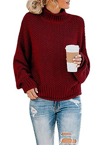 ORANDESIGNE Pullover für Damen Casual Lose Pulli Langarm Oberteile Damen Elegant Rollkragenpullover Batwing Oversize Rollkragenpullover Strickpullover (M, A Rot)