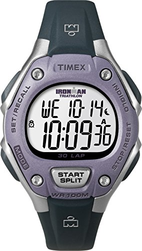 Timex Women's Ironman 30-Lap Digital Quartz Mid-Size Watch, Grey/Lilac - T5K410
