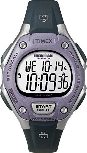 Timex Women's Ironman 30-Lap Digital Quartz Mid-Size Watch, Black/Lilac - T5K410