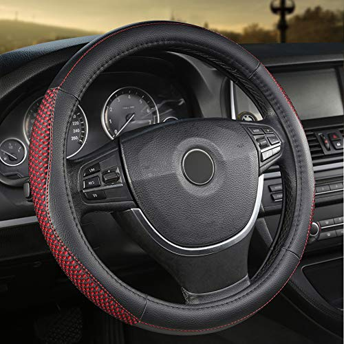 Giant Panda PVC Soft Leather Steering Wheel Cover with Breathable Mesh, 15 Inches Universal, Black and Red