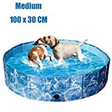 SCIROKKO Dog Swimming Pool Collapsible Pet Paddling Pool Bathing Tub for Dogs, Cats, Children 100 X 30 cm