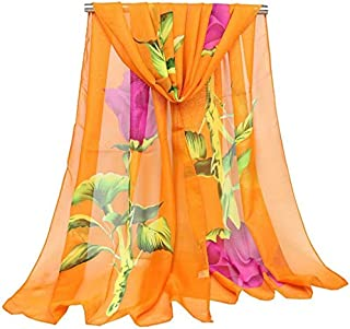 DIEBELLAU Fashion Small Scarf Chiffon Ladies Scarf Long Scarf Flower Thin Silk Scarf (Color : Orange)