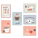 Cozy Winter Wishes Card Assortment / 24 6 1/4' x 4 5/8' Holiday Greeting Cards With White Envelopes/Sweet Holiday Note Card Pack