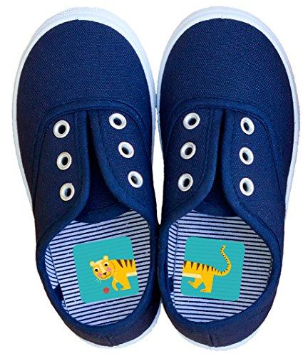 Laufkleber - Schuhe anziehen spielerisch lernen, für Kinder zur Vermeidung von Entenfüßen, Aufkleber mit Zootieren