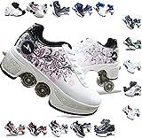 AMYMGLL Patines Retráctiles De Las Mujeres Patines para Niñas Al Aire Libre Patear Zapatos De Rodillo Zapatos De Deformación De Los Hombres Zapatillas De Deporte,G-6
