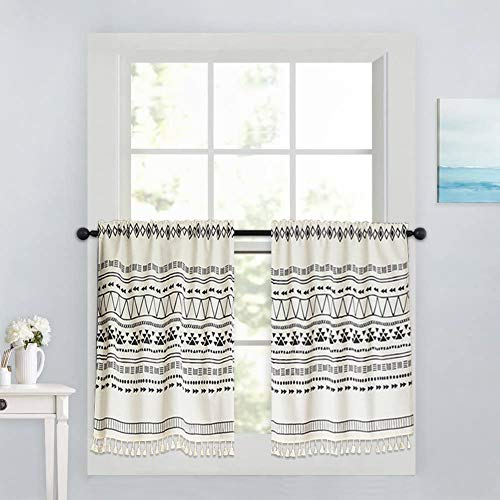 """Xiongfeng Kitchen Cafe Curtain Short for Small Window Blackout Boho Geometric White Drapes Cotton and Linen with Tassel for Bathroom Cabinet, 1 Panel 56"""" × 35"""""""