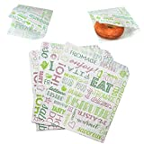 AhGuwa - 100 Pezzi di Carta Alimentare Anti Grasso, Durevole, Resistente All'umidità e al Grasso, Sacchetto di Carta per Panini, Hamburger, Snack, 19x17 cm