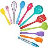 TeamFar Kitchen Utensils, 11 PCS Silicone Cooking Utensils Spatula Set Heat Resistant For Nonstick Cookware, Perfect for Cooking Baking Mixing, Healthy & Dishwasher Safe, Non Stick & Non Scratch