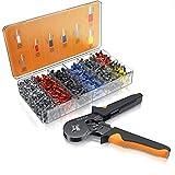 Brandson - Pinza crimpadora profesional de alambre - Alicates de terminales aislados - Kit 1200 piezas - Engarzar 0,25 a 10 mm² - Mango ergonómico - Presión de contacto en el trinquete autoajustable