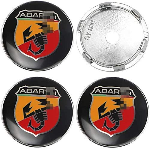 MixFactory 4pcs Auto Wheel Hub Center Caps Cubiertas 57 / 60mm para Fiat Abarth Punto 124/125/125/500 Reemplazo Insignia Emblema Cubiertas Decorativas Embellecedores de Ruedas