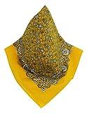 Auténtico pañuelo para el cuello, bandana clásica con estampado de cachemir atemporal amarillo Talla única