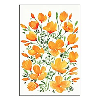 JIEHDA Canvas Wall Art Pictures for Kids Room Flower Poster Watercolor California Poppies 16×24inchs 40×60cm