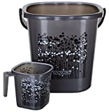 Plastic zone Bathroom Bucket and Mug Set (25L, Grey) - Set of 2
