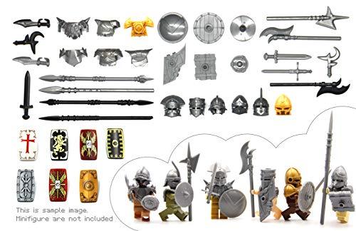Mittelalter Serie. Kreuzfahrer-Ritter-Rüstung, Wikinger-Rüstung, Orc-Rüstung, Brute-Rüstung mit Helm und Waffe für Großem Marken Bausteine Minifigur