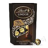 Lindt Lindor Bombones de Chocolate Negro 70% Cacao - Aprox. 16 Bombones, 200g, Pack de 4