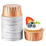 Disposable Ramekins for Baking, Beasea 5 oz 50 Pack 3 Inch Muffin Liners Cups Rose Gold Aluminum Foil Cups Mini Creme Brulee Muffin Cupcake Baking Cup Mini Pudding Cups for Party Wedding Birthday
