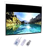 """Motorized Projector Screen,92"""" Electric Projection Screen HD Movie White with 16:9 Remote Control for Home Theater Movies Conference Room Presentations Public Display -  Goujxcy"""
