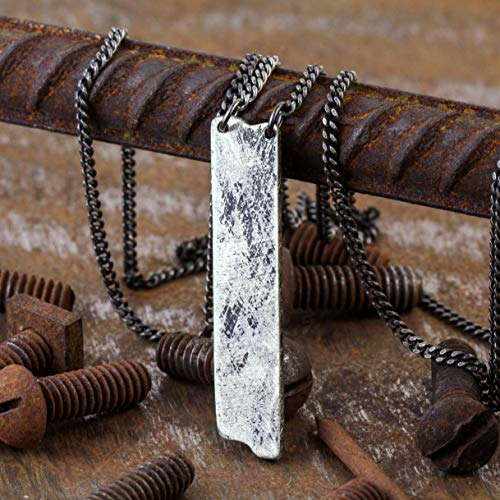 Men's Rustic Silver Custom Engraved Pendant Necklace - Personalized Jewelry