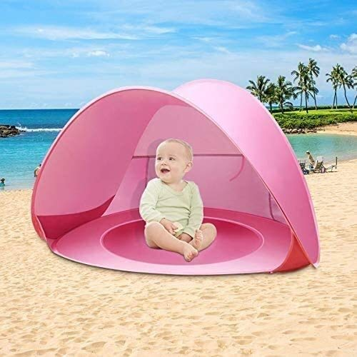 XCJJ Pop Up Baby Beach Tent, Portable Kiddies Shade Pool Tent 50 SPF UV Protection Sun Shelter Canopy for Infant Indoor and Outdoor Use (Stripe Green) (Color : Stripe Pink)