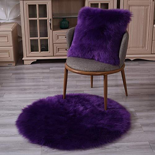 OSALADI vrijetijdsstoel badmat niet slipvaste matten badmat tapijt effen pluche tapijt rond stoelkussen antislip ronde onderlegger (kleur: lilamaat: 150 cm)
