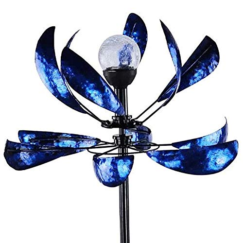 Wind Spinner Metal, with Stable Stake Construction Ornament Wind Mill for Outdoor Yard Lawn Ornament & Garden Décor (E - 75X19X11'')
