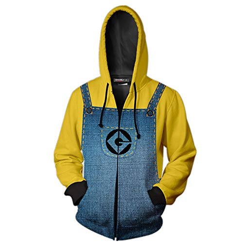 Sweatshirt Herren Hoodies 3D Printed Sweatshirt Sweater Cartoon Reißverschluss Kapuzenpullover Jacken Minion Cosplay Kostüme XL