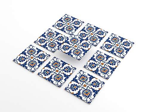 Tink Pegatinas de PVC para azulejos, cocina, baño, superficies de madera, escaleras (20 x 20 cm, 6 unidades, diseño Iznik)