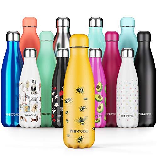 Proworks Edelstahl Trinkflasche | 24 Std. Kalt und 12 Std. Heiß - Vakuum Wasserflasche - Isolierflasche für Sport, Laufen, Fahrrad, Yoga und Camping - 1L - Gelb Biene