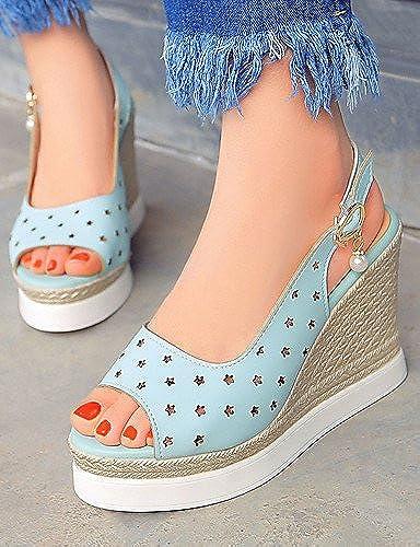 GGX  Chaussures Femme - Extérieure   Habillé   Décontracté - Bleu   Rose   Blanc - Talon Compensé -Compensées   Talons   Bout Ouvert   A , rose-us9   eu40   uk7   cn41 , rose-us9   eu40   uk7   cn41