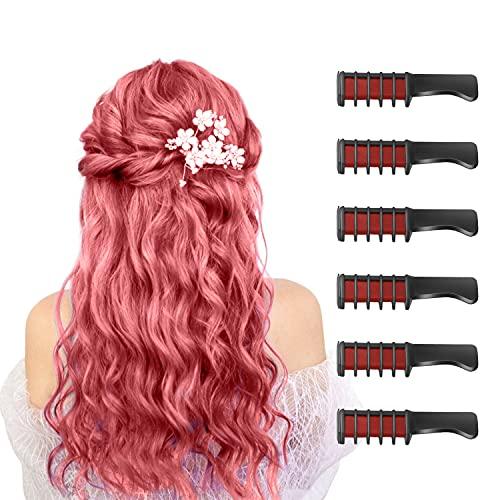 6 Stück Haarkreide Kamm Temporäre Färben HaarfarbeKamm für Kinder Auswaschbar Ungiftig Perfektes für Mädchen Erwachsene Geburtstag Party Erntedankfest Halloween Cosplay(Rot)