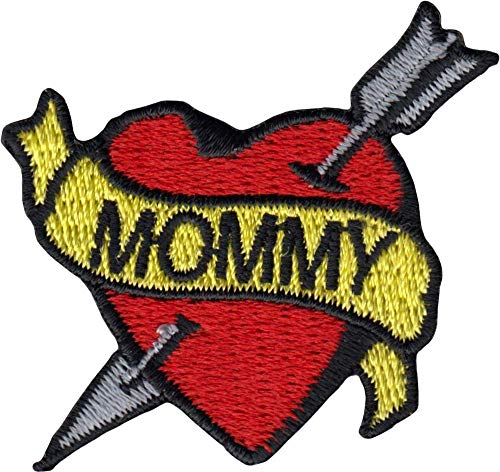Mommy Banner on Red Heart with Arrow - Tattoo Style - Cut Out Embroidered Iron On or Sew On Patch