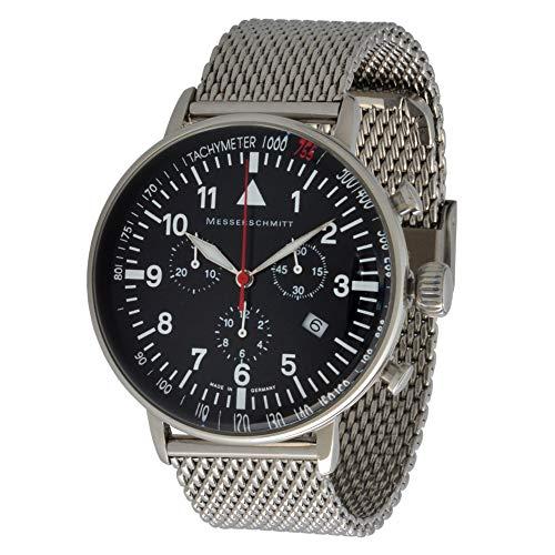 Messerschmitt Fliegeruhr Quarz Chronograph ME-755 Tachymeter Lynette Schweize Quarz Ronda 5030D Uhrwerk (Milanaise)