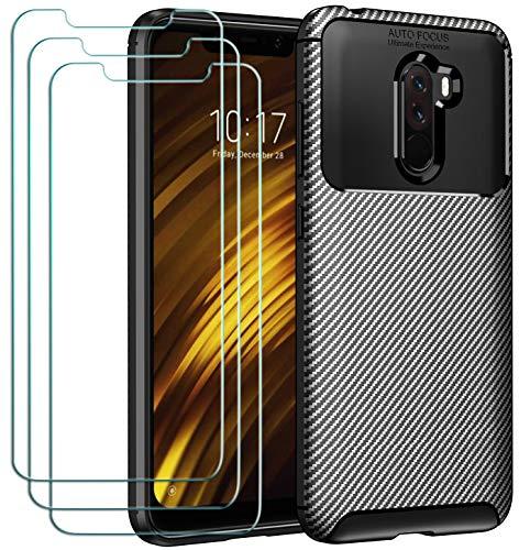 ivoler Coque pour Xiaomi Mi Pocophone F1 + 3X Protecteur D'écran en Verre Trempé, Fibre de Carbone Silicone Souple TPU Housse Etui Coque de Protection avec Anti-Choc et Anti-Rayure - Noir
